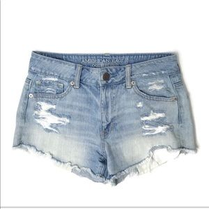 American Eagle Destroyed High Waist Shorts Light